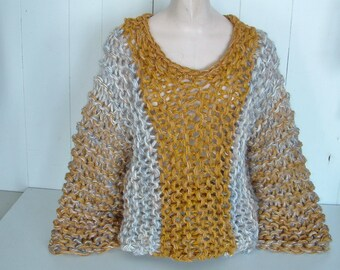 Super chunky pullover sweater women medium large handknit in precious metals color blocked tones of gold and silver grey