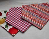 SALE set of THREE Cowboy Bibs - for little boys or girls 6 to 18 months - Red Gingham, Apples, Folk