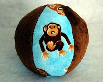 The Monkey Dream Ball - Squeaker Ball Toy for Dogs - Ball with Rattle for Baby - Minky Ball