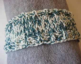Hand Knit Headband, Teal Blue and White, Upcycled Wool Blend Yarn, Dreadband Hairband Tube Hat Ear Warmer Dread Wrap Sweatband Dreadlock
