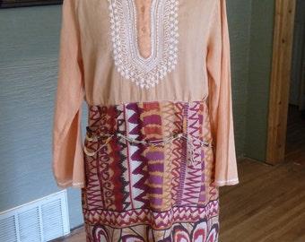 Boho Dress, Handmade Dress, Upcycled Clothing, Refashion Clothing, Orange Dress, Beaded Belt, Unique Clothing, Recycled Clothing,Fall Colors