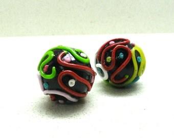 Supplies beads  polymer clay beads round hollow beads  handmade by artefyk