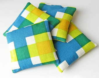 Plaid balsam sachets, Set of 4 sachets, chartreuse and blue plaid, Father's day gift, unisex gift