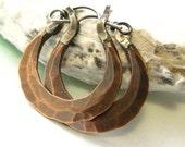 Small Rustic Copper Earrings, Forged Earrings, Mixed Metal Hoop Artisan Earrings, Metalsmith Jewelry, Silver And Copper Hoop Earrings