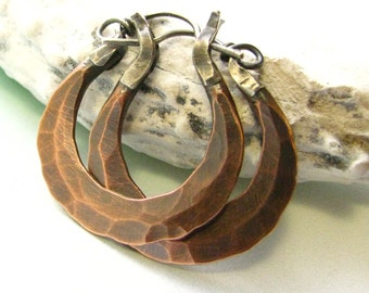 Small Rustic Copper Earrings, Forged Earrings, Mixed Metal Hoop Artisan Earrings, Metalsmith Jewelry, Silver And Copper Hoop Earrings