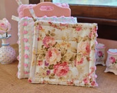 Romantic Pink Rose Chenille Pot Holders