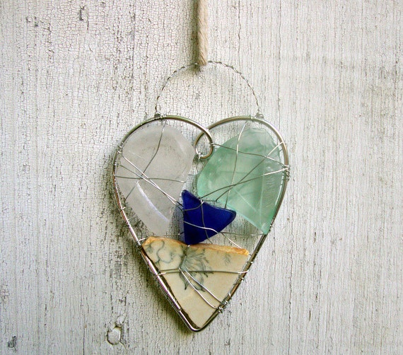 Blue and White Seaglass and Pottery Heart Suncatcher