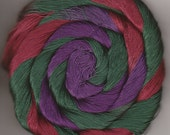 Size 10 Hand Dyed Cotton Crochet Thread 50 yards maroon evergree purple Quill