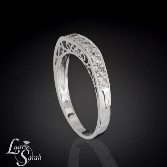 Diamond Ring, Diamond Filigree Wedding Ring with Hand Set Pave Diamonds - LS1919