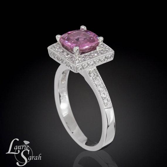 Pink Sapphire Cushion Cut Engagement Ring, Diamond Ring, Pink Sapphire Ring, Engagement Ring - LS1477