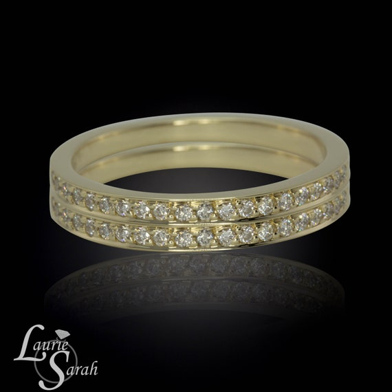 Pair of 14kt Yellow Gold Diamond Half Eternity Pave Bands - Complete Your Wedding Set - LS2264