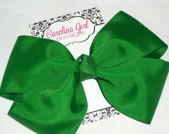 6 in. Emerald Green Hair Bow - XL Hair Bow - Big Hair Bows - Girl Hair Bows