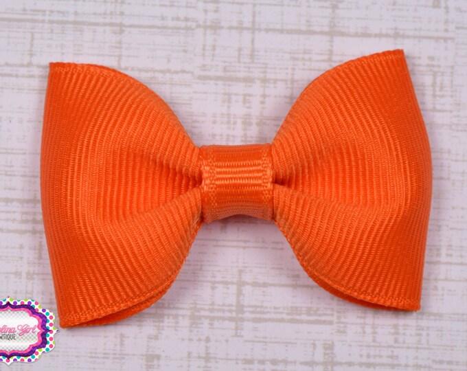"Orange Tuxedo Bow  ~ 2.5"" Hairbow ~ Small Hair Bow ~ Girls Barrette ~ Toddler Bow ~ Baby Hair Bow ~ Hair Clip ~ Girls Hair Bow"