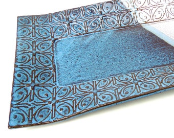 Dark Blue and White Textured Tin Roof Handmade Ceramic Pottery Appetizer Serving Plate