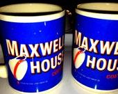 Vintage Maxwell House Coffee Mugs Advertising Set of 2 Java Time