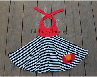Elmo Dress, Sesame Street Elmo Dress, Elmo Jumper Dress, Elmo Birthday Girl Dress, Custom Boutique Girl, Toddler Dress, Elmo Summer Dress
