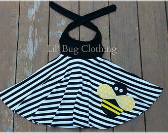 Bumble Bee Girls Dress, Bumble Bee Outfit, Black White Stripe Comfy Knit  Bumble Bee Halter Summer Dress