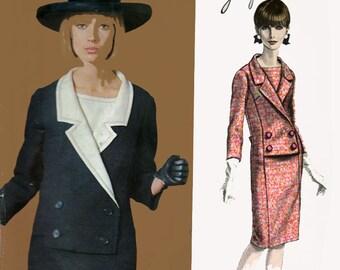 1960s Double Breasted Dress Vogue Paris Original 1376 Designer JACQUES HEIM Vintage 60s Sewing Pattern With LABEL Size 16 Bust 36