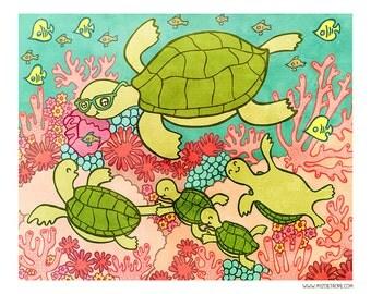 Sea Turtle Adventure 8x10 or 5x7 Illustration Print