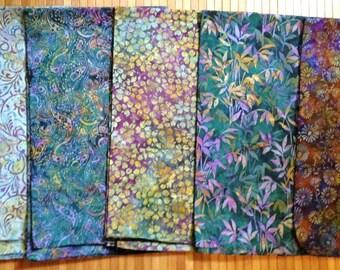 Batik Fabric Bundle FIVE One yard Pieces Coordinated Gold Green Blues Robert Kaufman