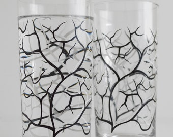 Black and White Trees with Birds - Set of 2 Everyday Drinking Glasses