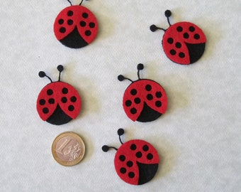 Mini Lady bug, applique, embellishment, pin, felt, black and red 1.5 inches