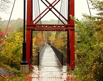 Red Bridge Photographs, Maine, Fall Colors Photography, Rustic wall art, country wall decor, abstract, Brown Orange Green Landscape Art 8x12
