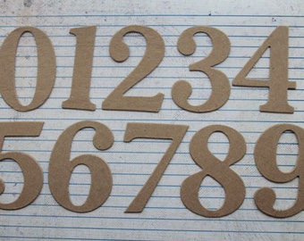 2 1/2 inch tall Numbers bare chipboard diecuts great for wedding table [choose quantity, plain or sticker backing]