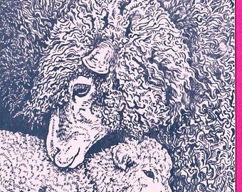 Pink Ewe and Lamb Card