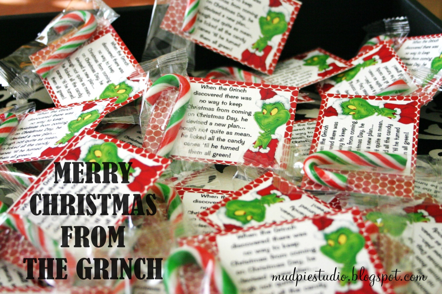 grinch christmas treat bag topper label by themudpiestudio. Black Bedroom Furniture Sets. Home Design Ideas