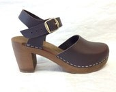 Dark brown oiled Dalanna Super High Heel with buckle ankle strap