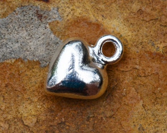 2 Silver Puffed Heart Charm 12mm x 9mm Nunn Designs Low Shipping