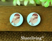 Buy 1 Get 1 Free - Vintage Bird Wood Cabochon, Wooden Button, 12mm 15mm 20mm Round Handmade Photo Wood Cut Cabochon -- HWC005A