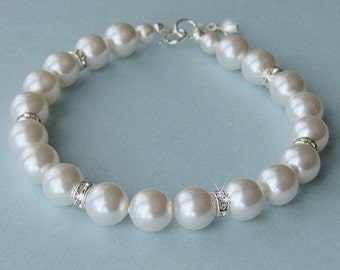 Bridesmaid Pearl Bracelet - Crystal and Pearl Bridal Bracelet in White or Ivory Pearls - Bridesmaid Gift - Wedding Jewelry by JaniceMarie