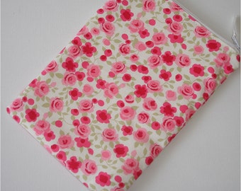 """Kindle 6 Wi-Fi Paperwhite or Kindle Touch 6"""" Nook or Kobo Case Cover Sleeve Pouch Pink Ditsy Roses Shabby Chic Rose"""