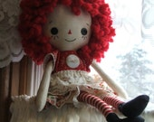 Raggedy Ann style cloth doll, made of new and vintage fabrics and laces.