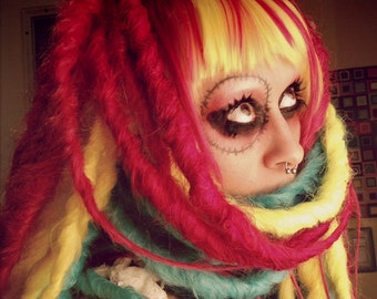 Halloween Rainbow Dreadlock Wig, bright colorful dread wig, long hair, Festival Hair, Circus Performer, Belly Dance Costume