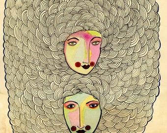 Painted Ladies- Art Print, Archival print, twins, colorful ladies
