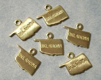 6 Tiny Brass Oklahoma Charms 11mm Brass State Charms Engraved Oklahoma Charms
