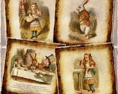 ALiCE In WonDERLAND-CHaRMiNG Primitive Vintage Art 4x4 Square Tiles- Printable Collage Sheet JPG Digital File - New Lower Price
