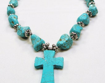 Unique one-of-a-kind adjustable graduated turqouise blue gemstone cross pendant necklace