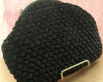 Vintage Straw Bag, woven bag, Black Straw Bag, Crochet Bag, woven straw bag, straw handbag, Raffia Bag, straw purse, 1950s purse