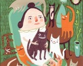 Cat Lady Relaxes Card - Funny Whimsical Art Note Card