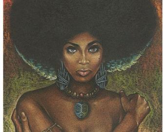 Doug Horne limited edition print.  Blacksploitation, Afro, Pin-up, Velvet, Juxtapoz, Lowbrow.