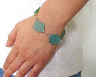 Turquoise, Blue and Green Seaglass Sterling Silver Links Bracelet