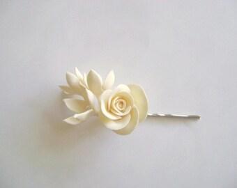 Ivory Bridal Bridesmaid Rose Hair Pin Wedding Hair Flower Wedding Rose Stephanotis Hair Pin Clay Flowers