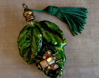 FALL LEAF VESSEL, Jeweled Bug Perfume Bottle Pendant, Gorgeous Fall Colors, Decorative Glass, Only A Couple Left