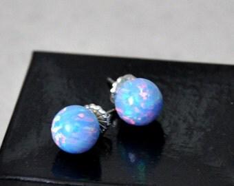 10mm Ball Stud Post earrings, Opal Earrings, Blue Opal, Sterling Silver Earrings,  Australian Opal, 925 Sterling Silver, ON SALE