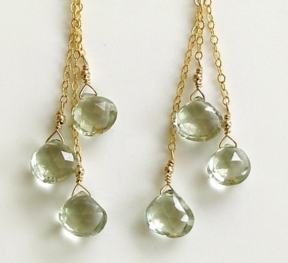 Edisto Earrings with Pale Green Ameythst on Gold Filled Chain Cocktail Prom Bridal