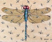 "Original Large Dragonfly Painting 18"" X 24"" on stretched canvas ready to hang cottage Lake House Decor"